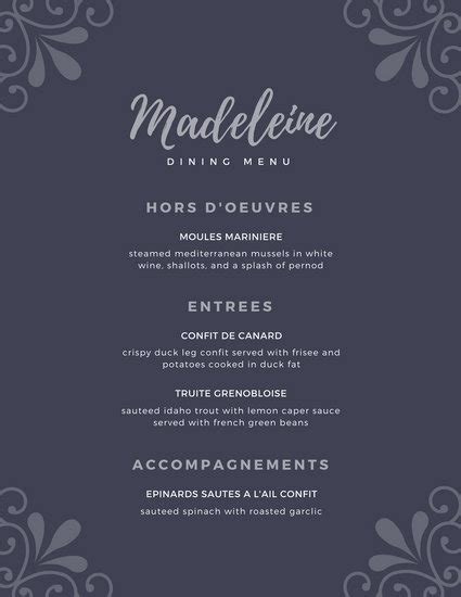 customize  elegant menu templates  canva
