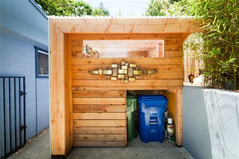 bathroom built in storage ideas garbage can shed garage and shed contemporary with awning