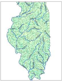 Illinois Lakes and Rivers Map