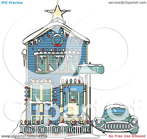 car covered  snow   victorian house decorated