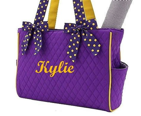 diaper bag personalized quilted pc purple gold