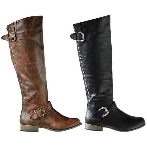Womens Fashion Knee High Boots Riding Winter Faux Leather