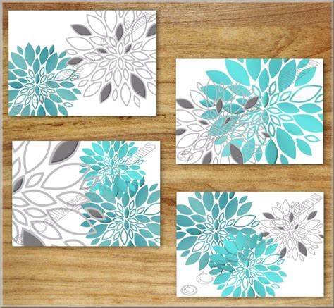 Gray And Teal Bathroom Wall Decor by Teal Turquoise Gray Wall Prints Decor Floral Flower