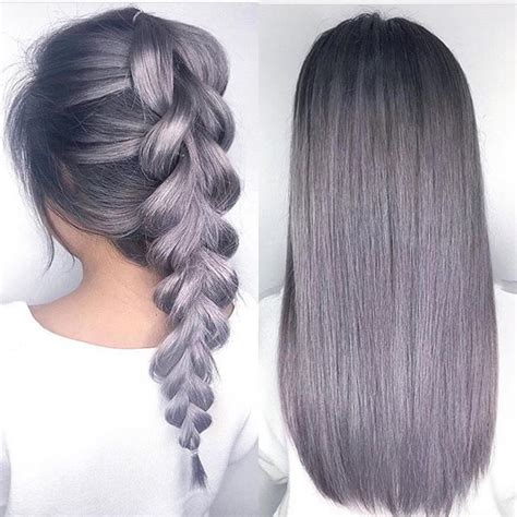 Metallic Lilac Gray Hair Color And Beautiful Braid By
