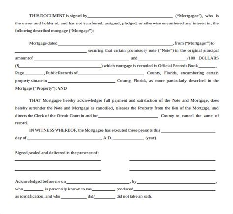 satisfaction  mortgage form    documents