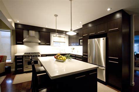 maple shaker style cabinets dark brown kitchen modern kitchen toronto by