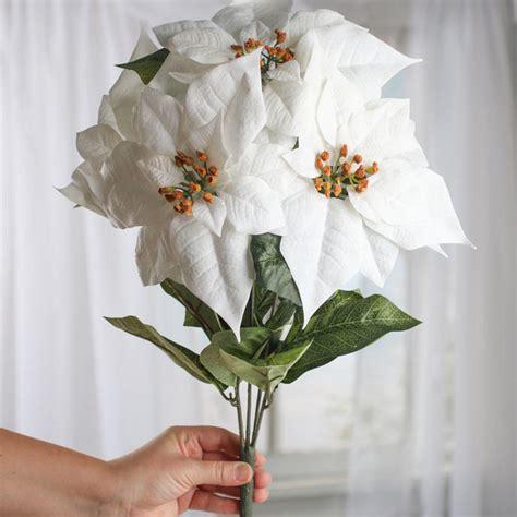 white velvet artificial poinsettia bush christmas