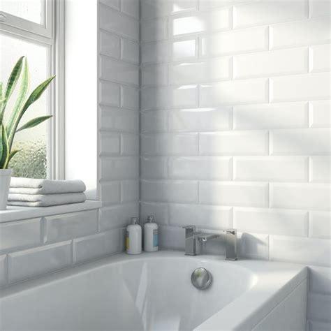 maxi metro subway white bevelled gloss wall tile mm