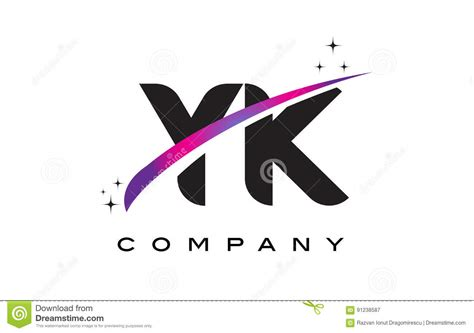 Yk Y K Black Letter Logo Design With Purple Magenta Swoosh