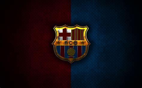 Download wallpapers Barcelona FC, metal logo, creative art ...