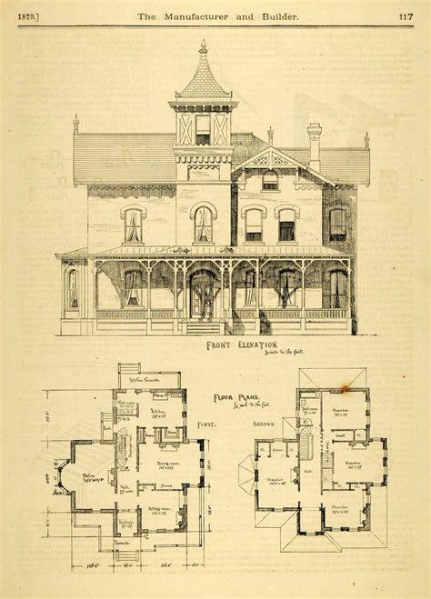 blueprints of homes 1873 print house home architectural design floor plans