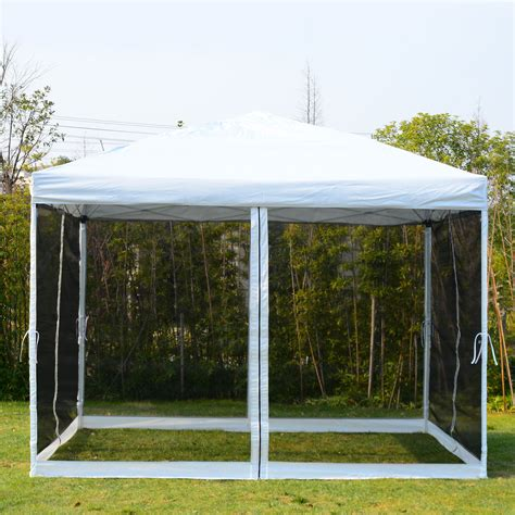white gazebo pop  canopy  mesh curtains