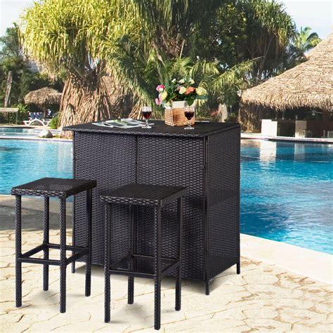 Goplus 3pcs Rattan Wicker Bar Set Patio Outdoor Table & 2