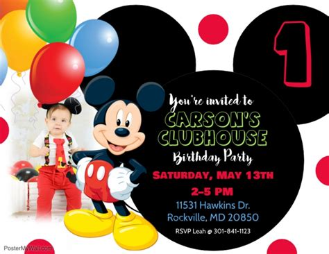 Mickey Mouse Invitations Template by Mickey Mouse 1st Birthday Invitation Template Free