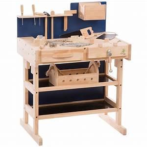 Kinderwerkbank Holz Selber Bauen : ultrakidz kinder werkbank aus massivholz mit werkzeug set und werkzeugkiste natur ~ Markanthonyermac.com Haus und Dekorationen