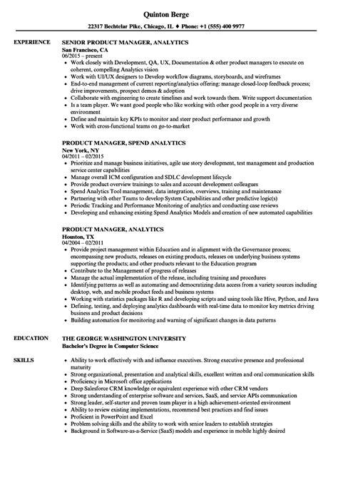 Resume For Analytics by Product Manager Analytics Resume Sles Velvet