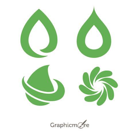 random green shapes  logo design  vector
