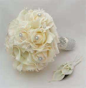 sunflower corsage silk flower bridal bouquet stephanotis real touch roses