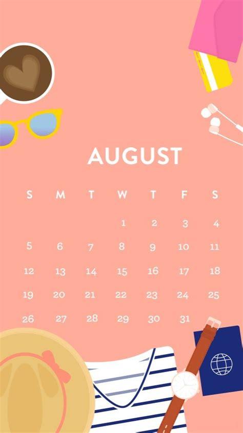 cute august  iphone calendar wallpapers calendar