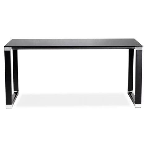 bureau noir en verre bureau droit design boin en verre trempé noir