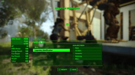 the ring of low maintenance fallout 4 mod fo4