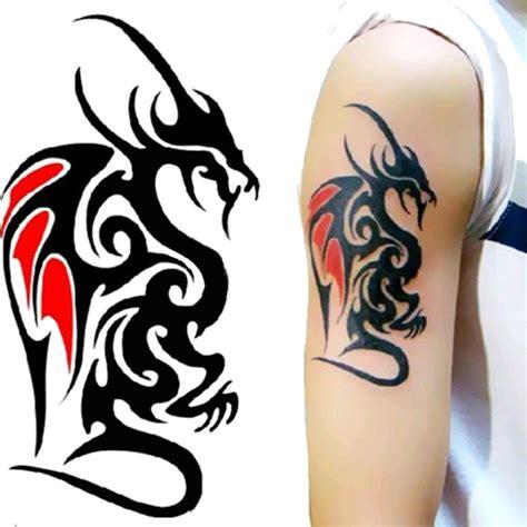 faux tatouage dragon noir  rouge kolawi
