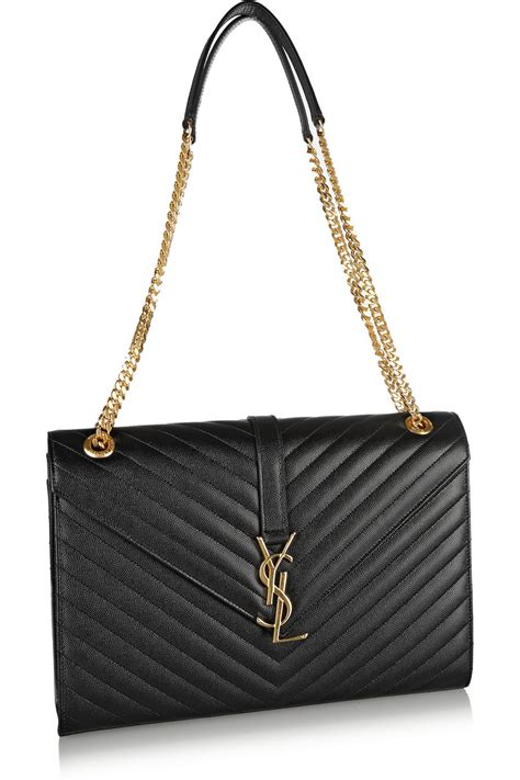 saint laurent monogramme large quilted texturedleather shoulder bag  black lyst