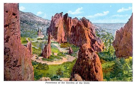Garden Of The Gods Best Time To Visit by A Panorama View On A Postcard From About 1940 Of The