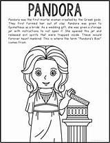 Pandora Greek Coloring Mythology Text Craft Activity Informational Poster sketch template