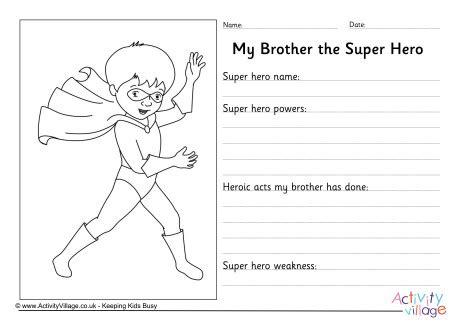 brother  super hero worksheet