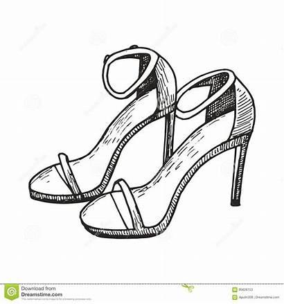 Drawing Sandals Heels Sketch Vector Illustration Female
