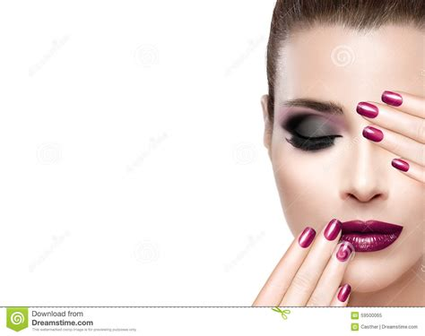 Beauty And Makeup Concept. Luxury Nails And Make-up Stock