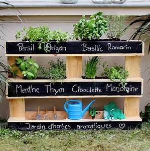 Herbes Aromatiques En Pot : cr ez une jardini re originale avec une palette ~ Premium-room.com Idées de Décoration