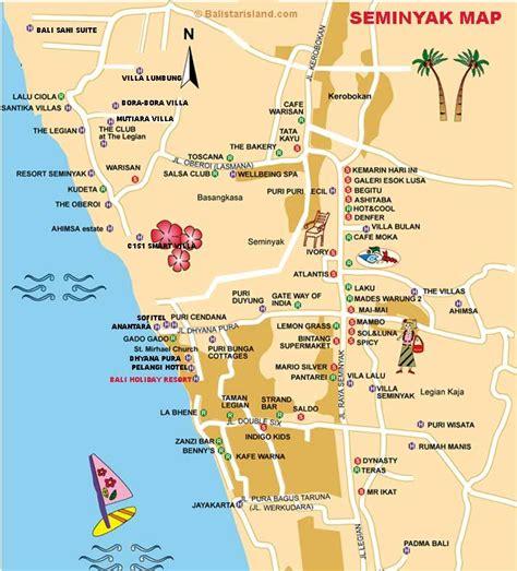 seminyak map north kuta bali map bali   bali