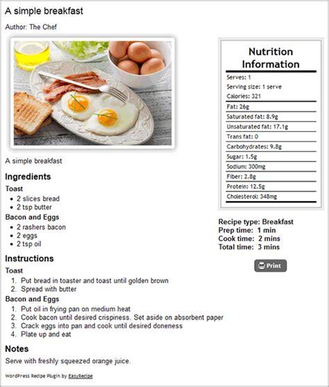 simple recipe easyrecipe wordpress plugins