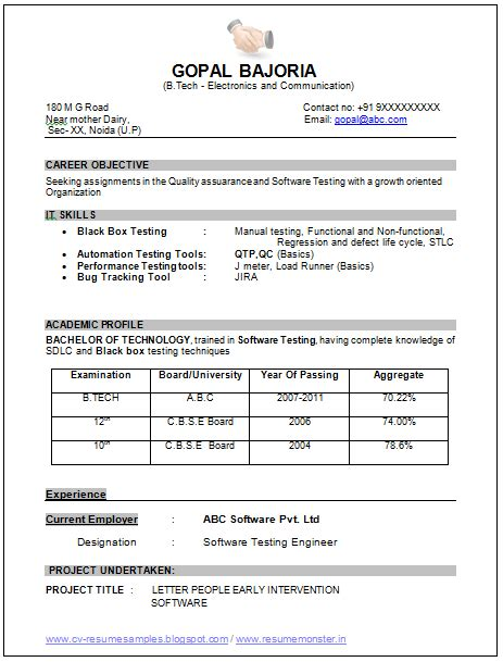 sle template of an excellent b tech ece electronics