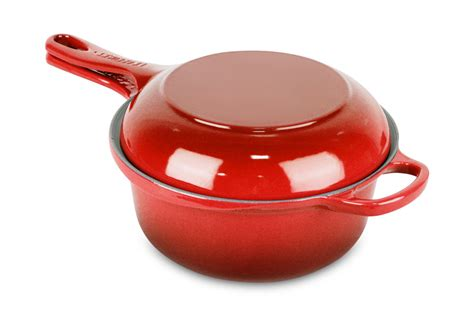 le creuset cast iron multi function pan  quart cherry red cutlery