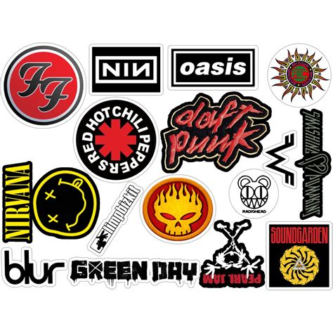 90 s rock bands logos vinyl sticker pack vintage stickers