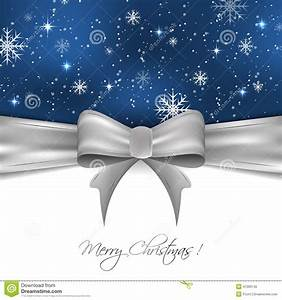 Christmas Background With Silver Ribbon, Snowflakes And ...