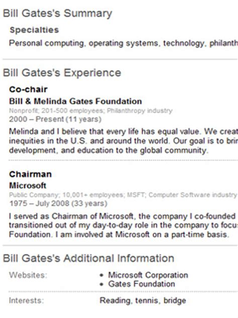 biography of bill gates resume resumes what seekers can learn mainstreet