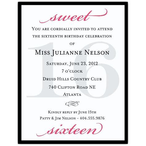petite classic black  hot pink sweet  invitations