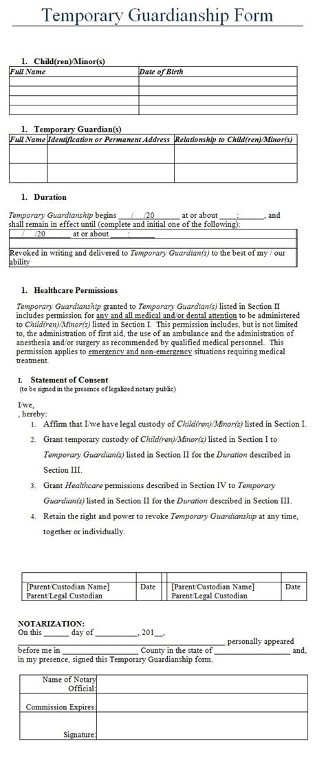temporary guardianship form template my board