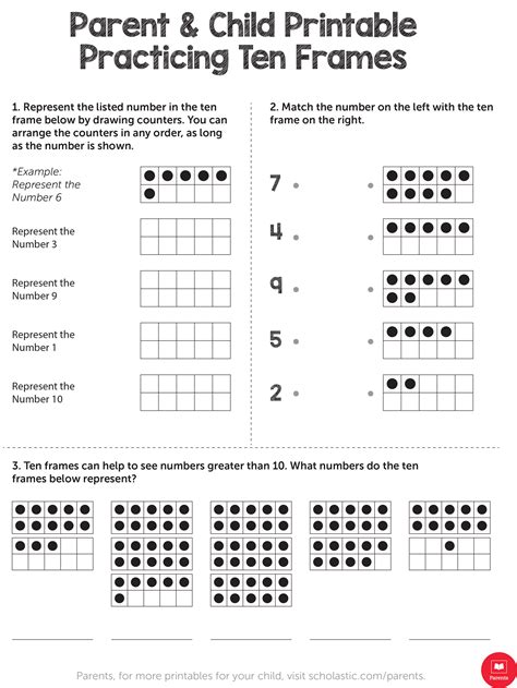 practicing ten frames worksheets printables