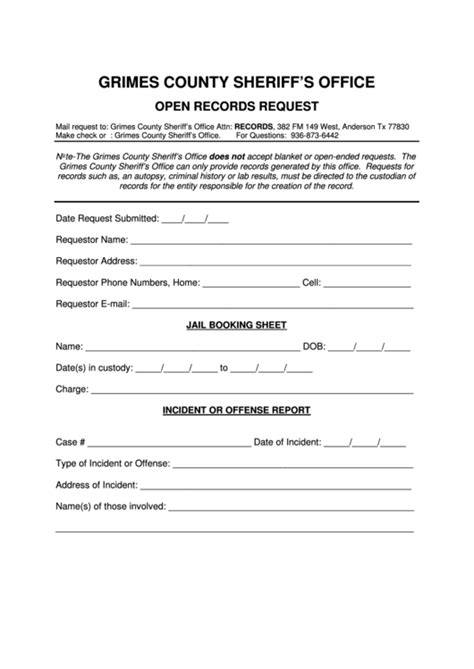 open records request form grimes county sheriffs office