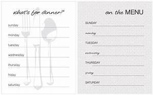 gallery weekly dinner menu template With home dinner menu template