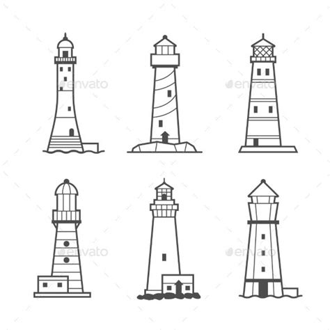simple vector icon  logo set  lighthouses lighthouse