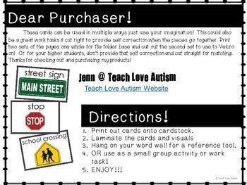 community signs flashcards  words  teach love autism
