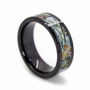 Snow camo wedding ring black rings ceramic white for Camoflauge wedding rings