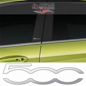 2 x fiat 500 chrome vinyl door pillar stickers decals With adhesive letters for t shirts