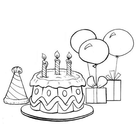 Le Gâteau D'anniversaire Et Les Ballons En Coloriage à